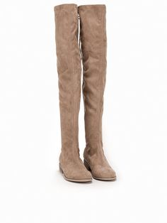 Flat Thigh High Boot - Nly Shoes - Brown/Grey - Everyday Shoes - Shoes - Women - Nelly.com