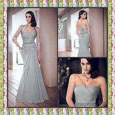 A-line prom evening mother of the bride dresses chiffon free bolero Custom Size
