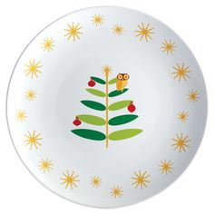Serving platter with holiday owl design.  Product: PlatterConstruction Material: StonewareColor: