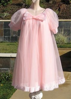 Vintage 60s Double Chiffon Nightgown Robe Short Babydoll Peignoir Set