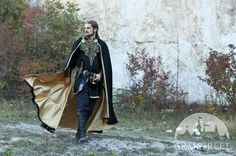 """Medieval Elven Prince Fantasy Lined Black Cloak """"Knight of the West."""" Could be the groom in a medieval fantasy wedding Medieval Cloak, Medieval Costume, Medieval Clothing, Medieval Fantasy, Larp Costumes, Elf Costume, High Leather Boots, Fantasy Dress, Capes"""