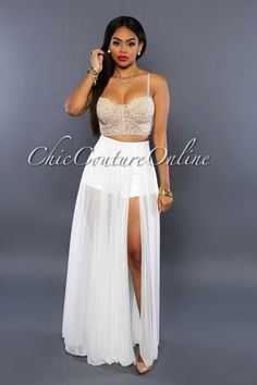 Chic Couture Online - Gianella Off-White Sheer Slit Panty Luxe Maxi Skirt,  (http://www.chiccoutureonline.com/gianella-off-white-sheer-slit-panty-luxe-maxi-skirt/)