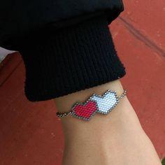 Red & white adjustable chain heart miyuki bracelet bracelet