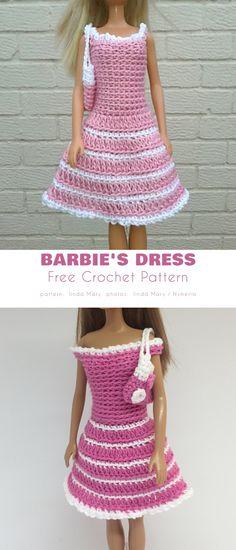 Crochet Barbie Patterns, Crochet Doll Dress, Barbie Clothes Patterns, Crochet Barbie Clothes, Doll Dress Patterns, Clothing Patterns, Knitting Dolls Free Patterns, Knitting Dolls Clothes, Crochet Dresses
