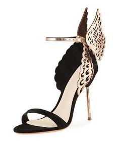 SOPHIA WEBSTER EVANGELINE ANGEL WING SANDAL, BLACK/ROSE GOLD. #sophiawebster #shoes #sandals