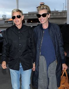"Actress and TV host Ellen Degeneres and her wife Portia de Rossi catch a flight out of LAX Airport on July 6, 2016 in Los Angeles, California. The pair looked to be in high spirits, perhaps because Ellen's new movie, ""Finding Dory,"" has topped the box office 3 weeks in a row."