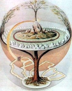 Yggdrasil - World Tree - Tree of Life. Yggdrasil is a gigantic tree, thought to connect all the nine worlds of Norse cosmology. It is often suggested to be an ash tree, an interpretation generally accepted in the modern Scandinavian mind. Norse Legend, Asgard, Creation Myth, Iron Age, Norse Mythology, Flower Of Life, Gods And Goddesses, Tree Of Life, Sacred Geometry