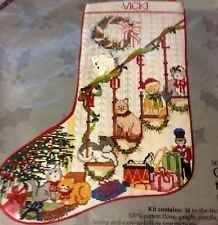 DIY Cross Stitch Christmas Stocking Kit CATS KITTENS on STAIRS Toys Wreath Tree