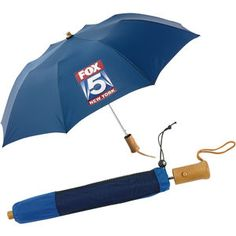 """Executive Folding Umbrella. 43"""" arc auto-open nylon umbrella with wind resistant frame and round wood handle and ferrule. Comes with matching nylon sleeve. #promotional_products #jmpromoteit #print_buyers #printing"""