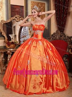 Surprising Orange Red Taffeta Ball Gown Dress for Quince with Appliques
