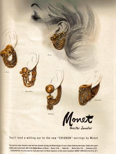 Vogue Magazine, earrings by Monet, early 1950's