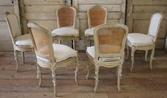 19th Century Louis XV Antique French Cane Dining Chairs with Original Paint | From a unique collection of antique and modern dining room chairs at https://www.1stdibs.com/furniture/seating/dining-room-chairs/