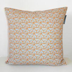Geometric Triangles Cushion  Blue/Grey and Orange by AnnabelPerrin, £40.00