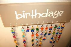 This is a kindergarten classes birthday calendar BUT I want to do this for my family ;) So cute!