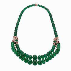 Bulgari Serpenti emerald neckace with detachable earrings
