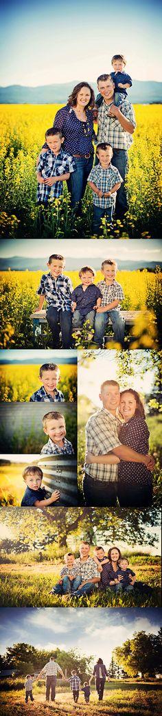 Family of five in Montana Canola Fields Montana family photographer Marianne Wiest www.mariannewiest.com