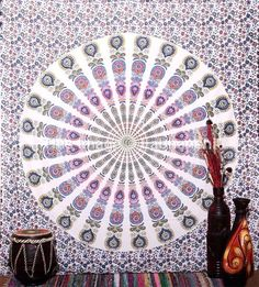 WHITE BLUE ELEPHANT HIPPI MANDALA TAPESTRY HANGING WALL : This Beautiful White Hippi Mandala Tapestry Hanging Wall for Craft Lovers..This White colour is Tradition in India & Symbol of Positivity...you can Bold Your Walls to Add this BeautifulWhite Tapestry... | eyesofindianarts