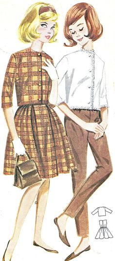 Illustration by Butterick Pattern number 1960s Fashion, Vintage Fashion, Vintage Dresses, Vintage Outfits, 1960s Dresses, Love Clothing, Vintage Clothing, Fashion Prints, Fashion Design