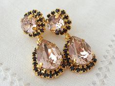 Blush Pink and black Chandelier earrings by EldorTinaJewelry