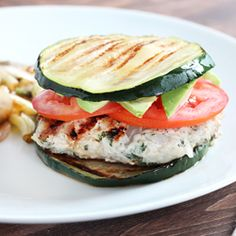 Herbed Turkey Burgers with a Grilled Zucchini Bun