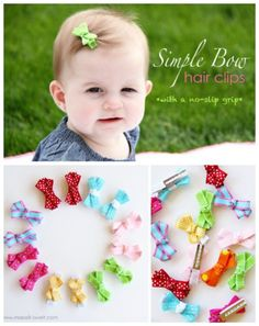 No-Slip Bows for Babies - 30 Fabulous and Easy to Make DIY Hair Bows