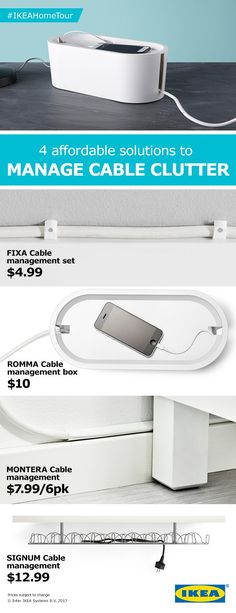 Tangled cables no more! Find four affordable solutions from the IKEA Home Tour Squad to manage cable clutter. Texas Tech Dorm, Cable Management Box, Ikea Home Tour, Small Office Furniture, Clutter Solutions, Texas Homes, House On Wheels, Home Automation, Office Organization