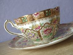 antique English tea cup and saucer set, William Lowe Royal Albert Staffordshire, gold hand painted flowers, vintage 1920s