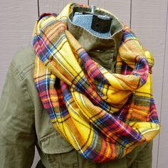 Infinity Scarf in Yellow Tartan Plaid Flannel