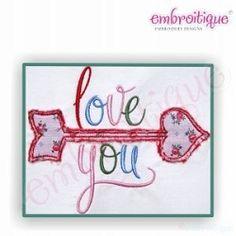 Love You Arrow Raw Edge Applique - 3 Sizes!   Valentine's Day   Machine Embroidery Designs   SWAKembroidery.com Embroitique