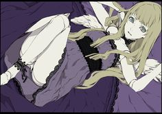 bed_sheet blonde_hair blue_eyes dogs:_bullets__carnage doll_joints dress lace long_hair miwa_shirou nill official_art panties pantyshot underwear wings