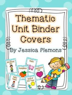 Thematic Unit Binder Covers: Are you looking for an easy and attractive way to organize all of your teaching materials?  Using binders to store all of your resources is neat, portable, and easy to do! Just print these cover sheets, slide into the front of any sized clear view binder, and add your materials. If you don't want to 3 hole punch everything you can also use page protectors and side your pages inside.