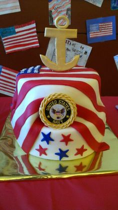 I like this cake idea for my sons Graduation / US Navy Going Away party. Beautiful Cakes, Amazing Cakes, Navy Cakes, Military Cake, Margarita Cake, Cupcake Cookies, Cupcakes, Nautical Party, Dream Cake