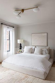 modern bedroom, minimalist bedroom, bedroom decor, home decor Serene Bedroom, Cozy Bedroom, Home Decor Bedroom, Bedroom Neutral, All White Bedroom, Bedroom Inspo, Bedroom Wardrobe, Bedroom Curtains, Bedroom Bed