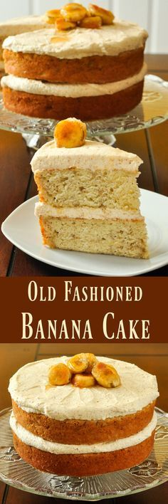 Banana Cake with Brown Butter Frosting - a cross between a butter cake and banana bread, this is an easy to make, moist, tender banana cake with a slightly caramel-y flavoured brown butter frosting. Homemade at it's best!
