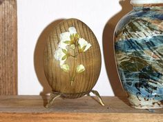 Rustic Easter wood egg with Real fried flower-Easter decoration-Easter decor-Wood eggs-Brown White-Natural decoupage egg-Shabby chic