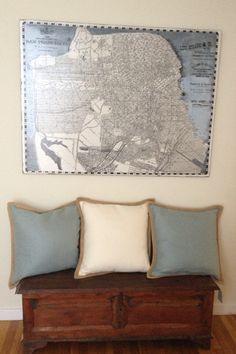 Ben de lisi home light grey world print map bedding set 1909 san francisco map antique trunk and pottery barn pillow entryway gumiabroncs Images