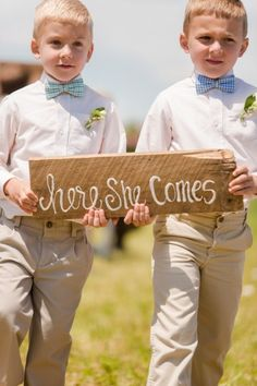 Adorable sign-carrying ringbearers // Photo by Katelyn James Photography, see more at http://theeverylastdetail.com/rustic-eclectic-backyard-maryland-wedding/