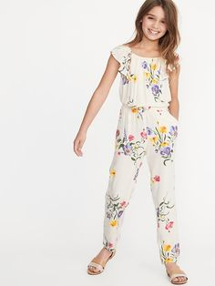 Old Navy Girls' Floral-Print Flutter-Sleeve Jumpsuits Cream Floral Regular Size XXL Girls Dresses Online, Dresses Kids Girl, Kids Outfits Girls, Cute Girl Outfits, Shirts For Girls, Jumpsuit With Sleeves, Jumpsuit Dress, Cute Summer Dresses, Cute Dresses