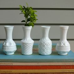 small milk-glass bud vases