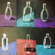 Great glass bottles of the year of life crayolachalk your life reflections spectresmateri Kids Art Class, Art Lessons For Kids, Art Lessons Elementary, Art For Kids, Middle School Art Projects, Art School, High School, Art Pastel, Classe D'art