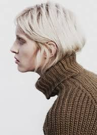 """Now trending: The Hair Tuck. Consider the micro-trend of tucking your hair into your sweater/coat officially a """"thing."""" More inspiration after the jump. Hair Tuck, Portraits, Bleach Blonde, Grey And Beige, Trendy Clothes For Women, Brown Sweater, New Trends, Editorial Fashion, Fashion Trends"""