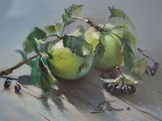 Картина пастелью. Зеленые яблоки. - Ярмарка Мастеров - ручная работа, handmade