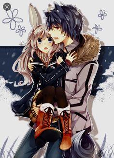 wolf anime boy couple