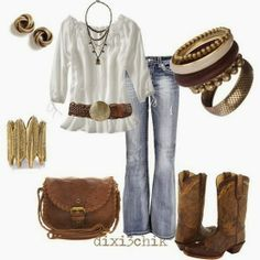 White blouse, jeans, handbag and long cowboy boots