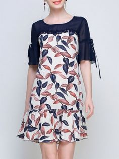 Buy Women's Dress Short Sleeve Floral Pattern Patchwork Plus Size Dress & Women's Dresses - at Jollychic