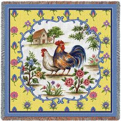Country Rooster and Hen Art Tapestry Lap Throw