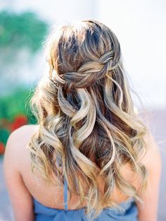 Soft wedding hair, half up in a braid and half in loose waves.  - Melissa Jill Photography