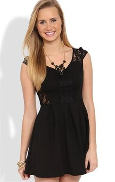 Deb Shops Skater #Dress with Lace Illusion Cap Sleeves and Back $25.00