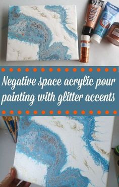 Negative space acrylic pour painting with metallic and glitter accents. Video tutorial, fluid acrylics, flow art painting with acrylics