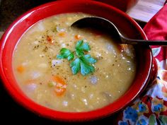 Scottish Red Lentil Soup, with or without barley, is comfort in a bowl. Perfect for cold weather days, and fresh, crusty bread is highly recommended!